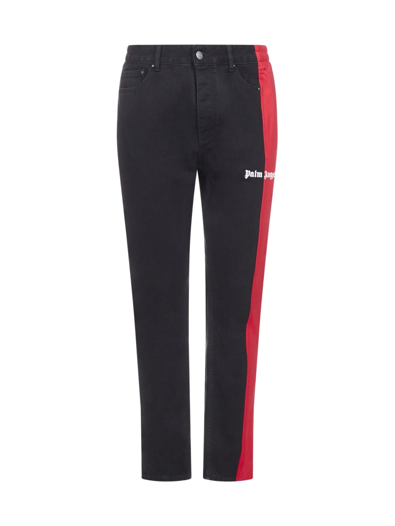 Palm Angels Jeans - Black wash red