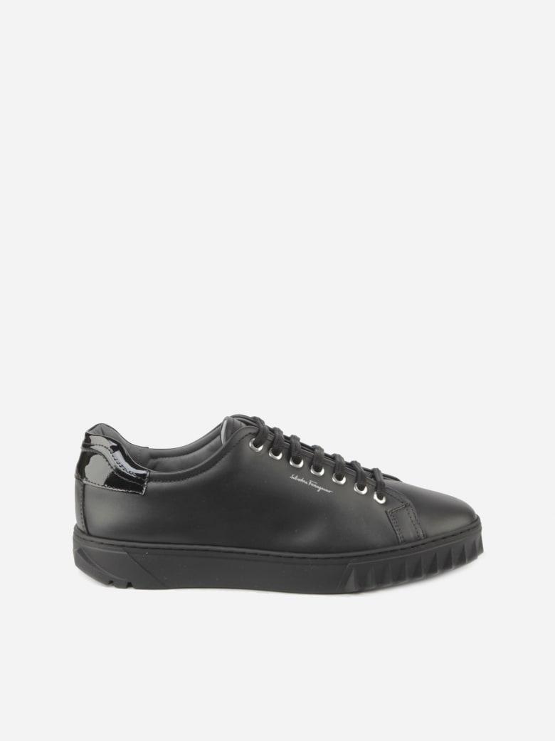 Salvatore Ferragamo Calfskin Sneakers With Painted Details - Black