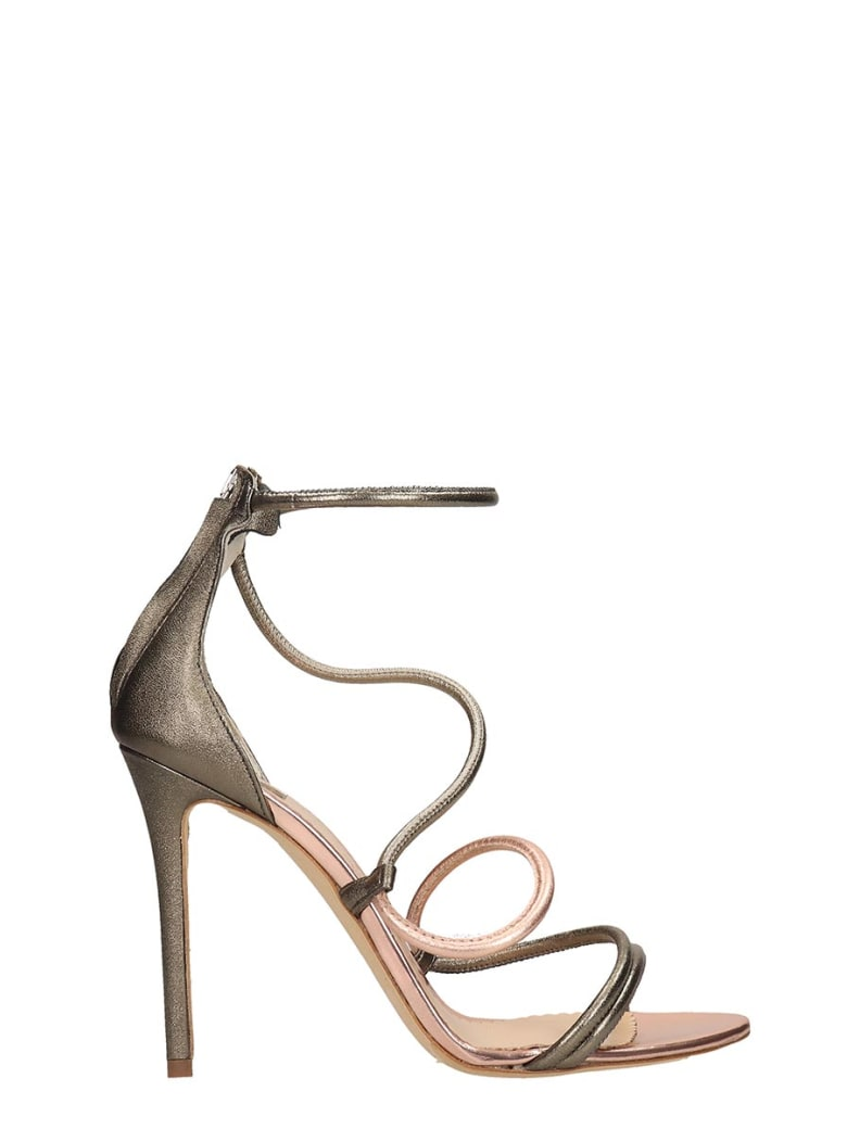The Seller Grey And Copper Calf Leather Sandals - grey
