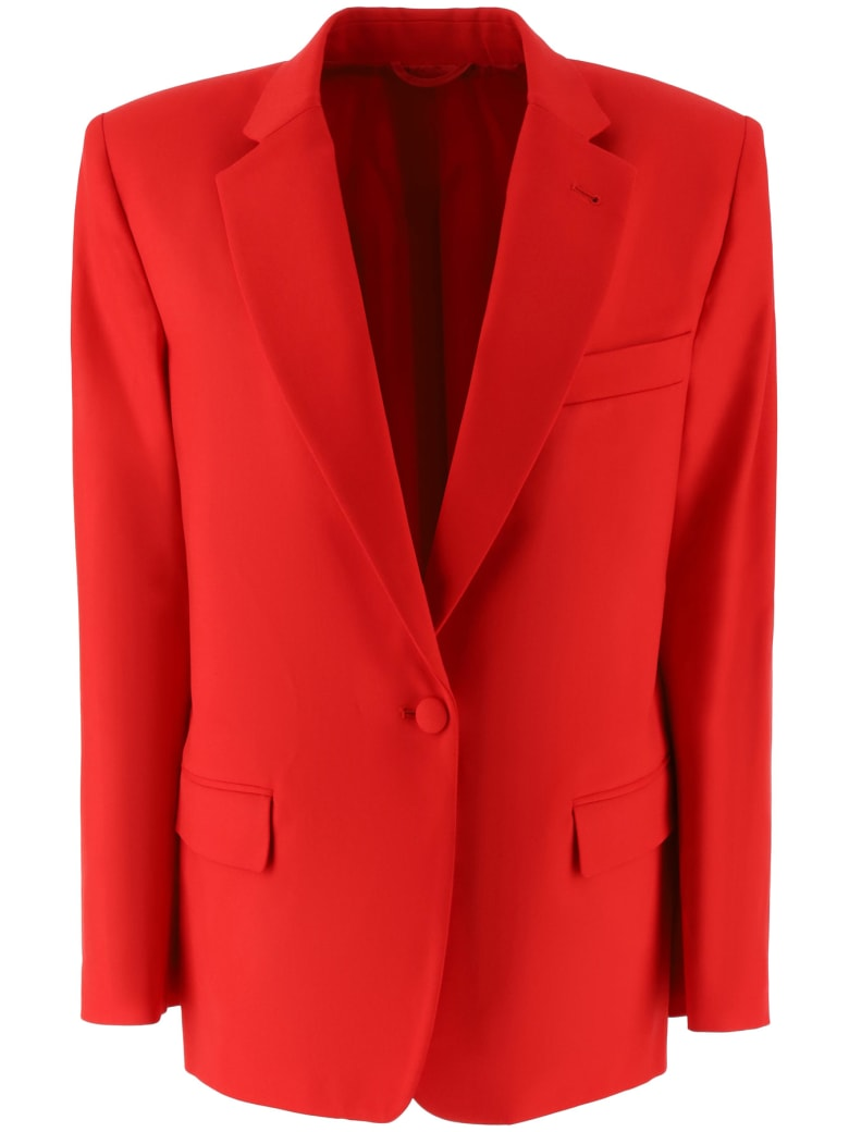 The Attico Stretch Wool Long Blazer - Rosso