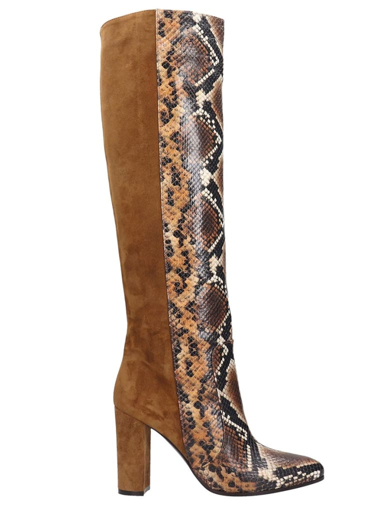Via Roma 15 High Heels Boots In Leather Color Suede And Leather - leather color