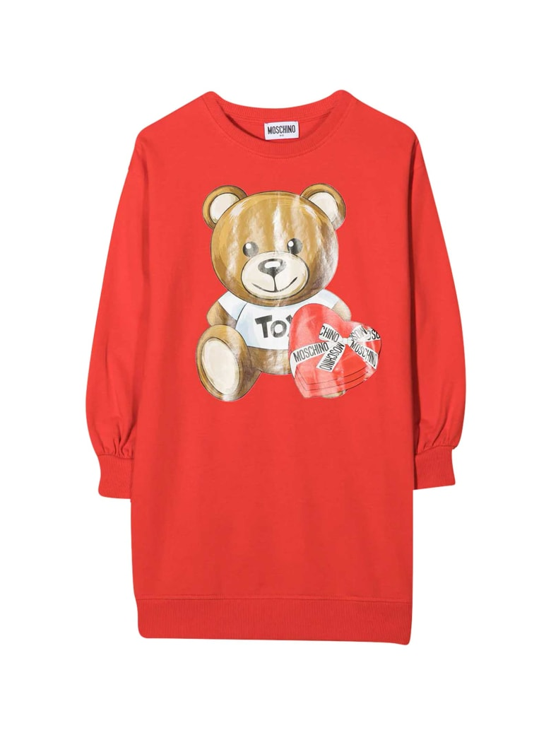 Moschino Red Dress With Frontal Toy Press - Rosso
