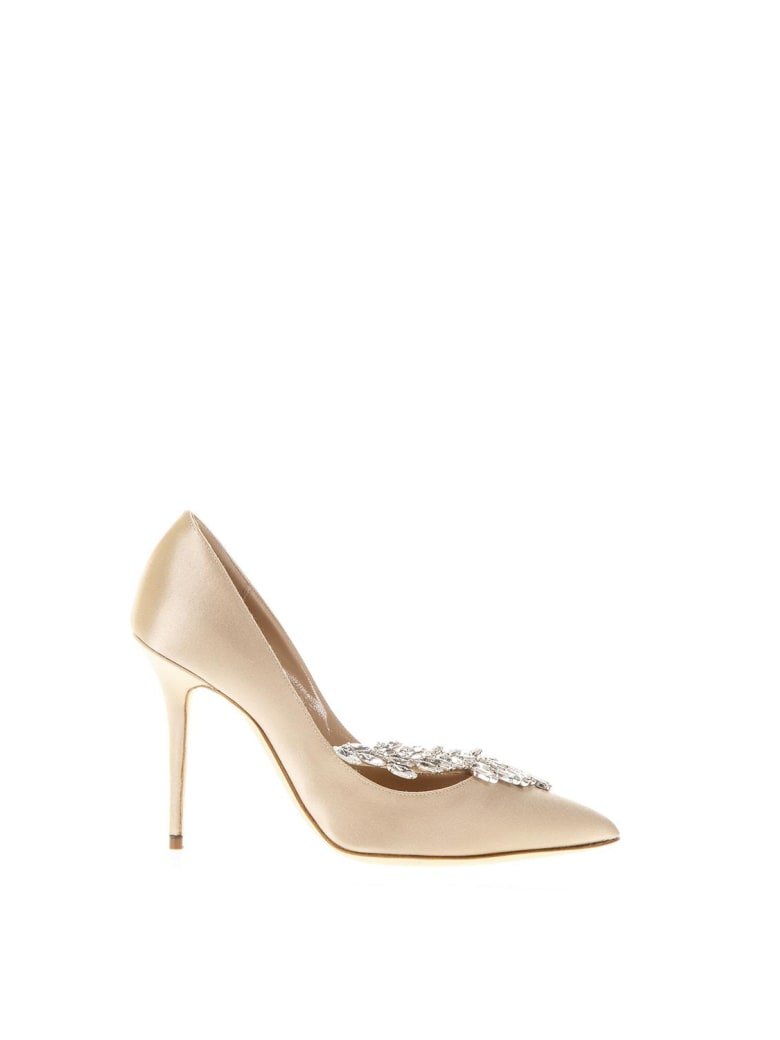 Manolo Blahnik Nude Nadira Jewel Pumps - Nude