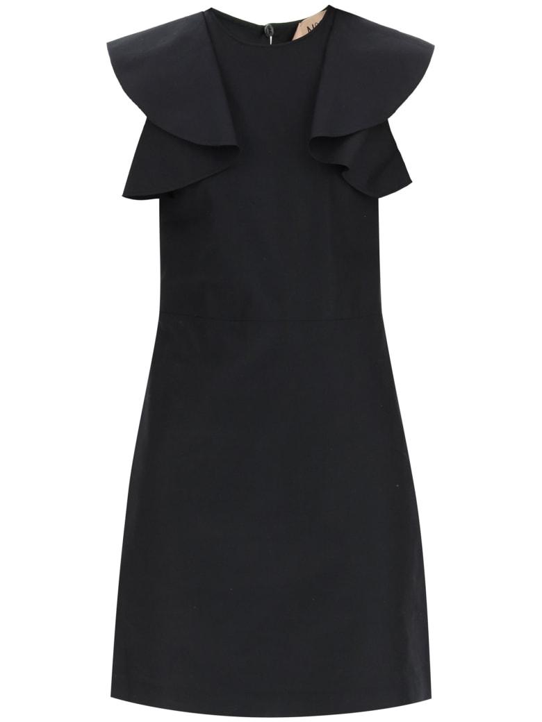 N.21 Cotton Mini Dress With Ruffles - BLACK (Black)