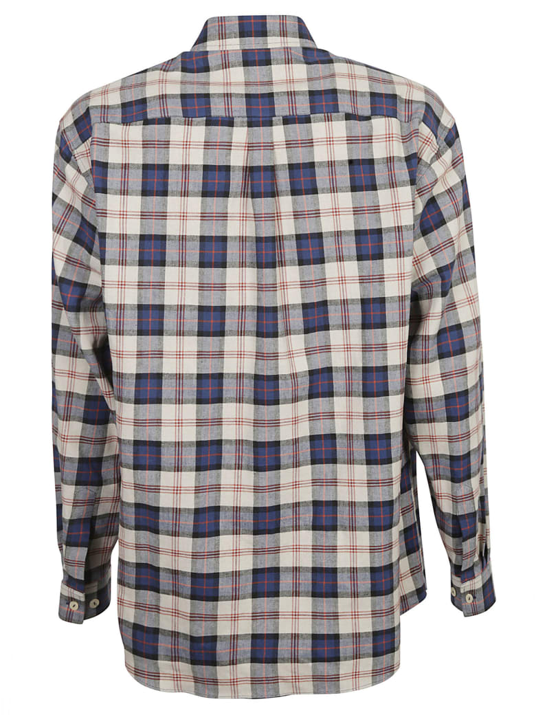 Gucci Embroidered Check Shirt - Beige/Blue/Red