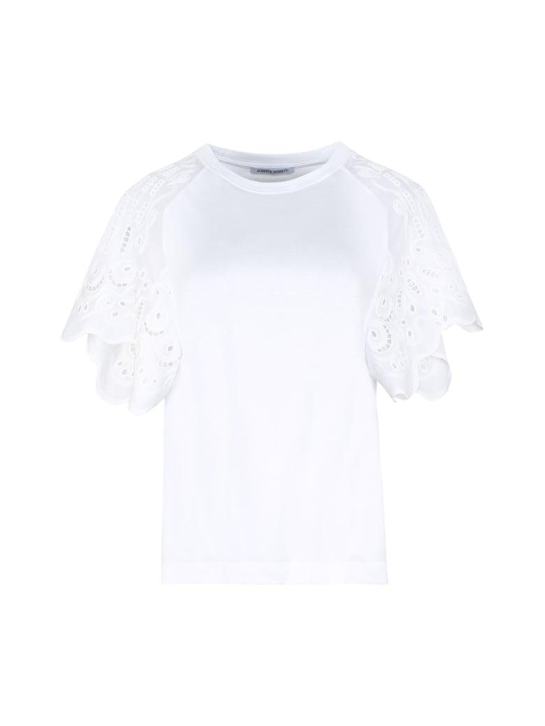 Alberta Ferretti Broderie Anglaise Sleeve T-shirt - White