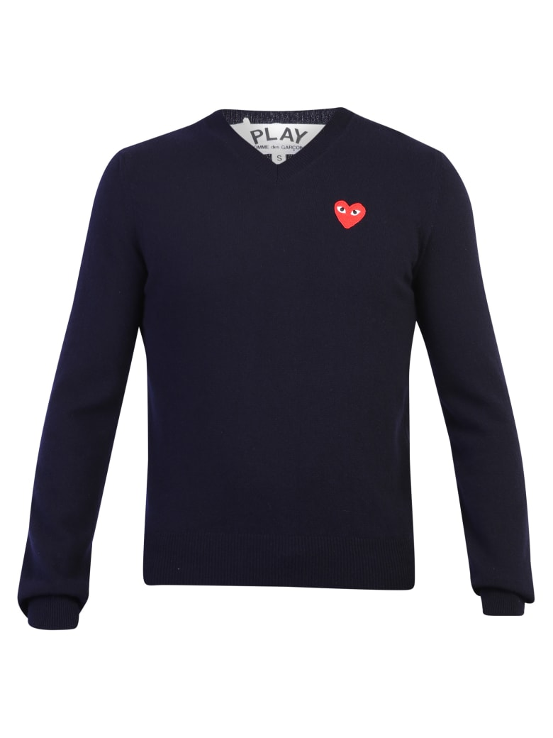 Comme des Garçons Play Embroidered Wool Sweater - Blue