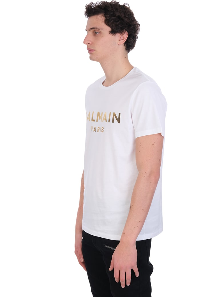 Balmain T-shirt In White Cotton - Bianco