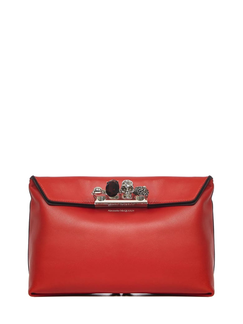 Alexander McQueen Four Ring Clutch - Red