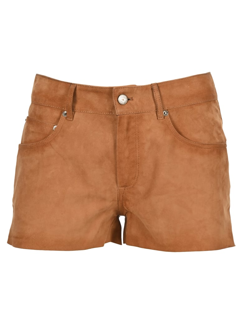 Golden Goose Suede Mid-rise Shorts - BEIGE