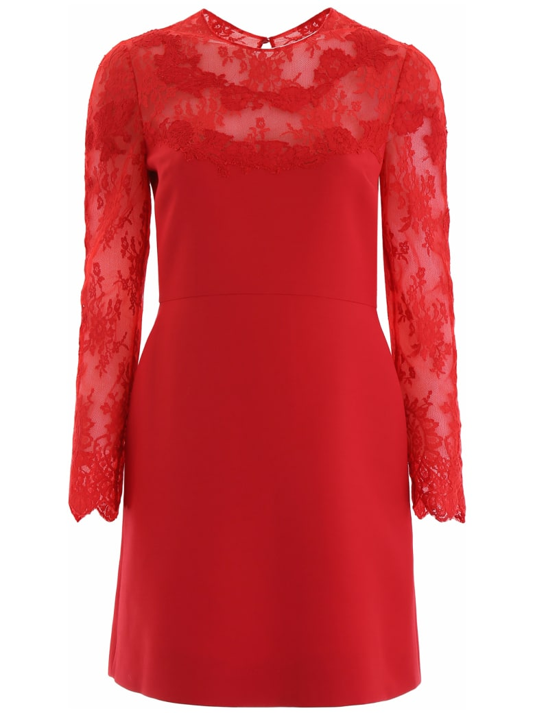 Valentino Dress With Lace Detail - ROSSO (Red)