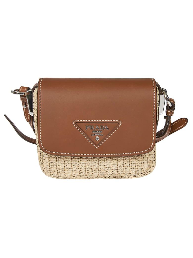 Prada Logo Plaque Flap Shoulder Bag - Brown