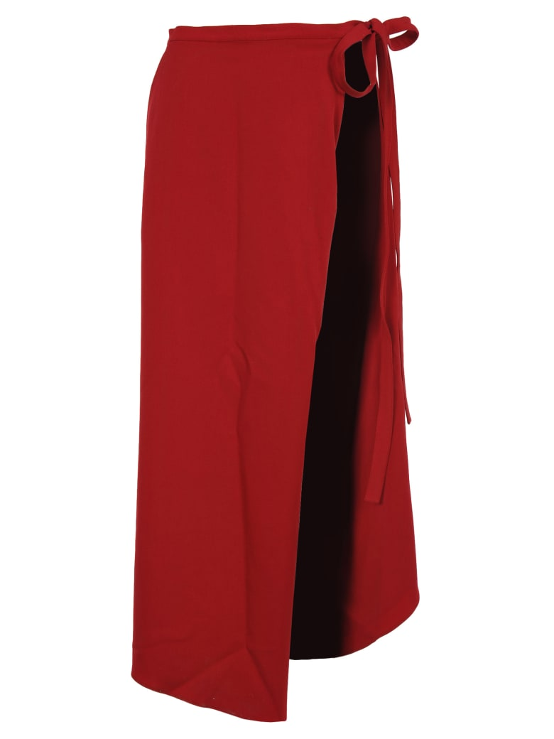 Y/Project Y/project Asymmetric Wrap Skirt - RED