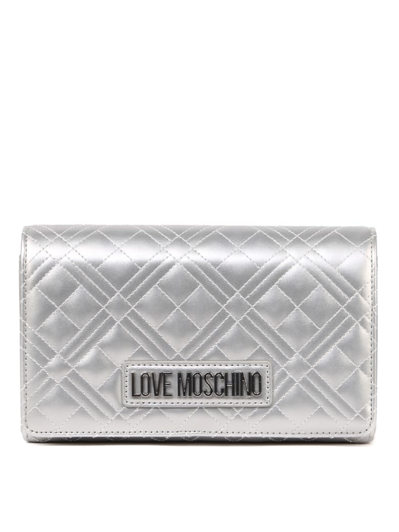 Love Moschino Silver Quilted Synthetic Bag - Silver