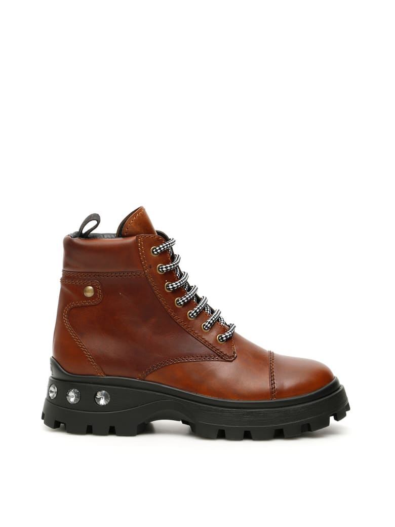 Miu Miu Crystal Lace-ups Boots - COGNAC (Brown)