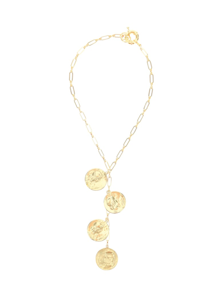 Timeless Pearly Chain Necklace With Medallions - GOLD (Gold)