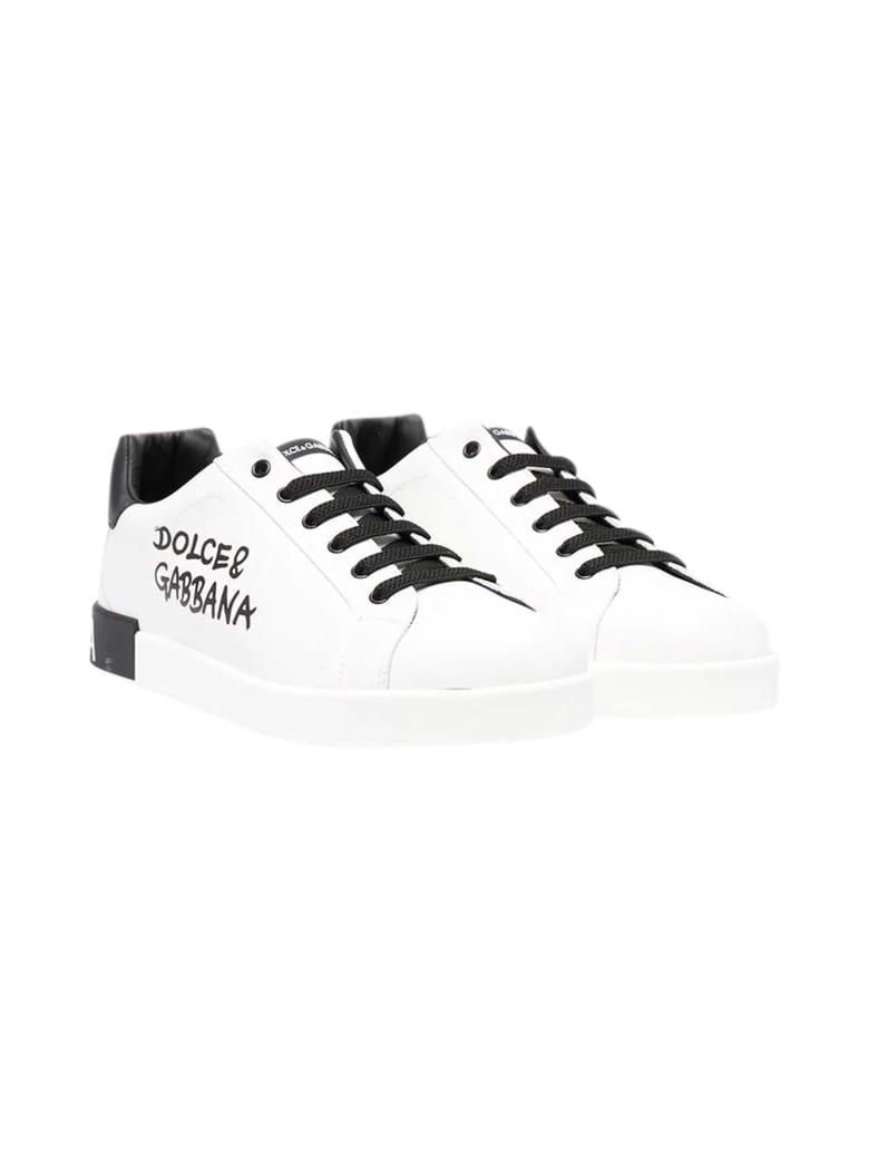 Dolce & Gabbana Portofino White Sneakers Teen - Bianco