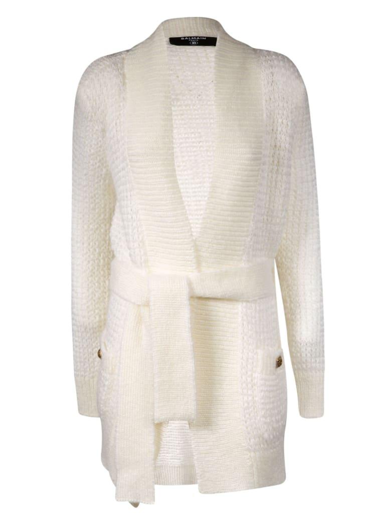 Balmain Belt-tie Knitted Cardigan - White