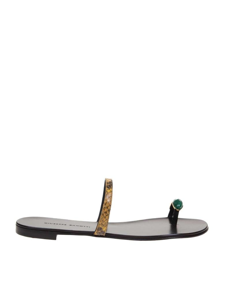 Giuseppe Zanotti Ring Gem Leather Sandals