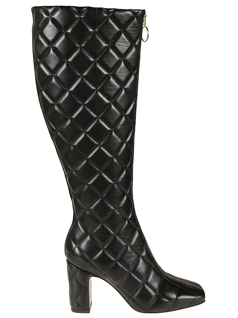 L'Autre Chose Quilted Long Boots - Black