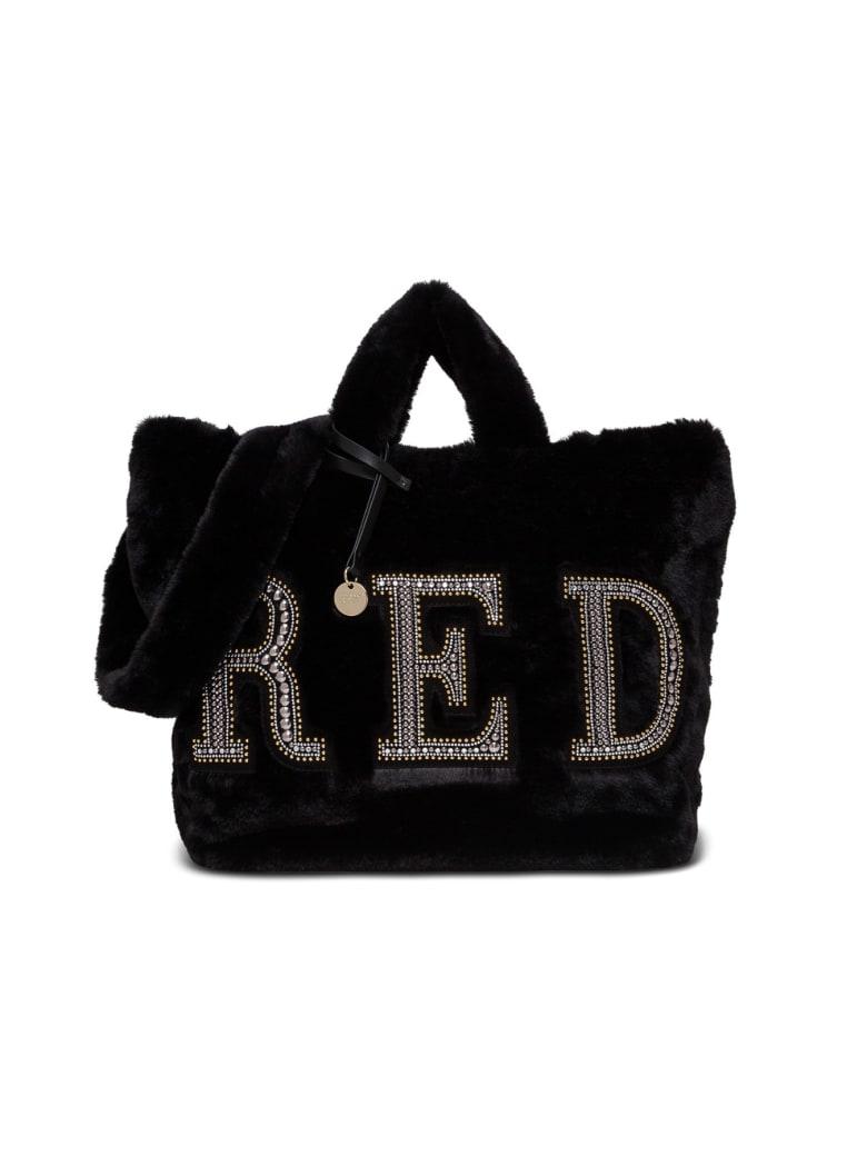 RED Valentino Eco Fur Shopping Handbag With Logo - Black