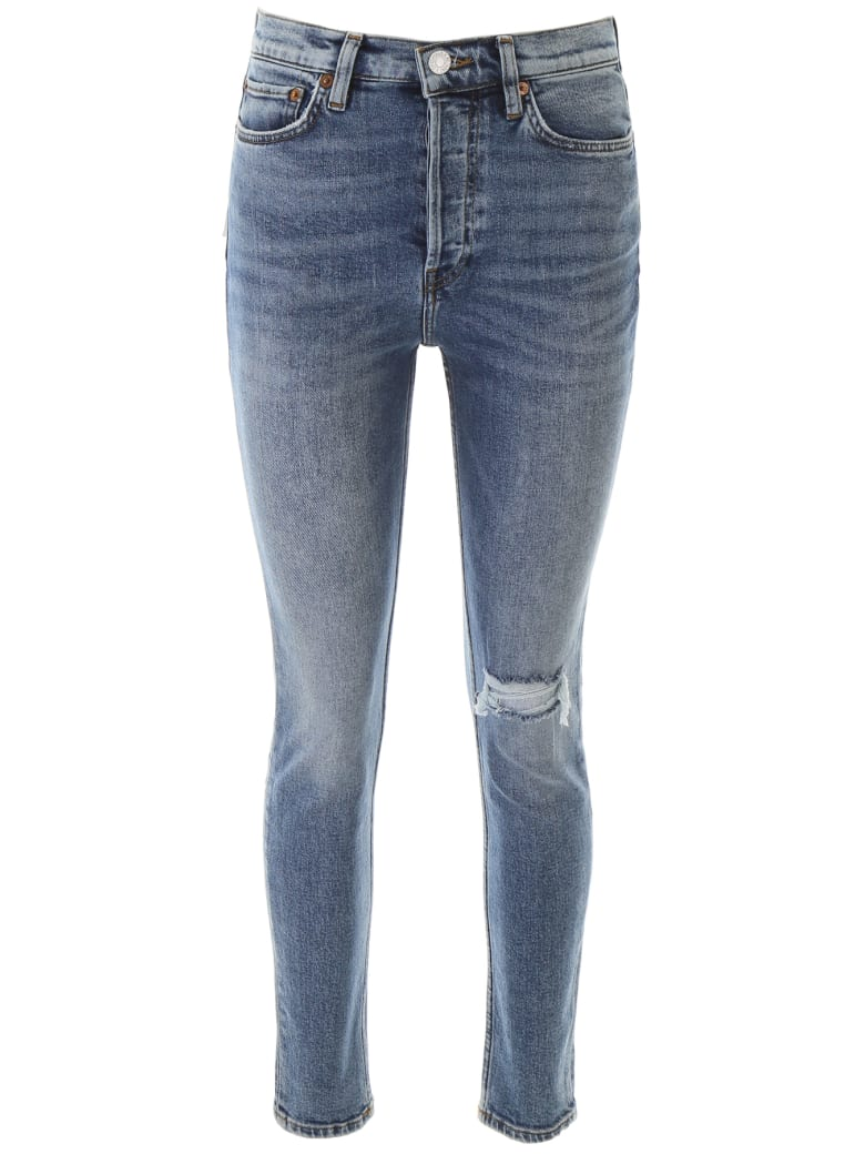 RE/DONE Ultra High Rise Jeans - WORN RETRO STORM (Blue)