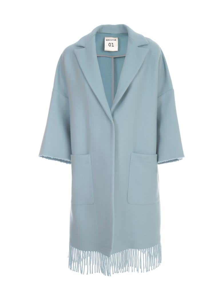 SEMICOUTURE Sigmund Oversized Coat W/fringes - Azzurro Polvere