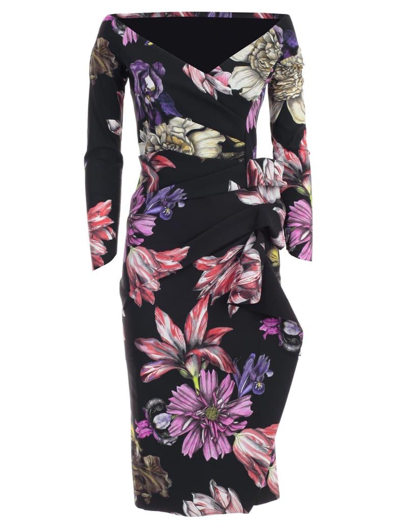 La Petit Robe Di Chiara Boni Dress L/s V Neck Fantasy W/side Drape - Taiga Flowers Nero