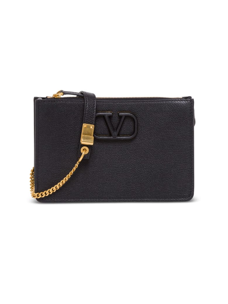 Valentino Garavani Vsling Shoulder Bag In Black Hammered Leather - Black