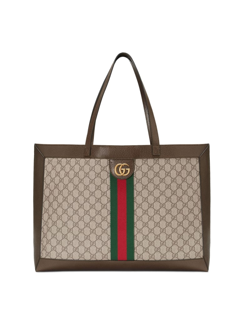 Gucci Shopping Ophidya Orizzontal With Web Band - Beige Ebony Acero