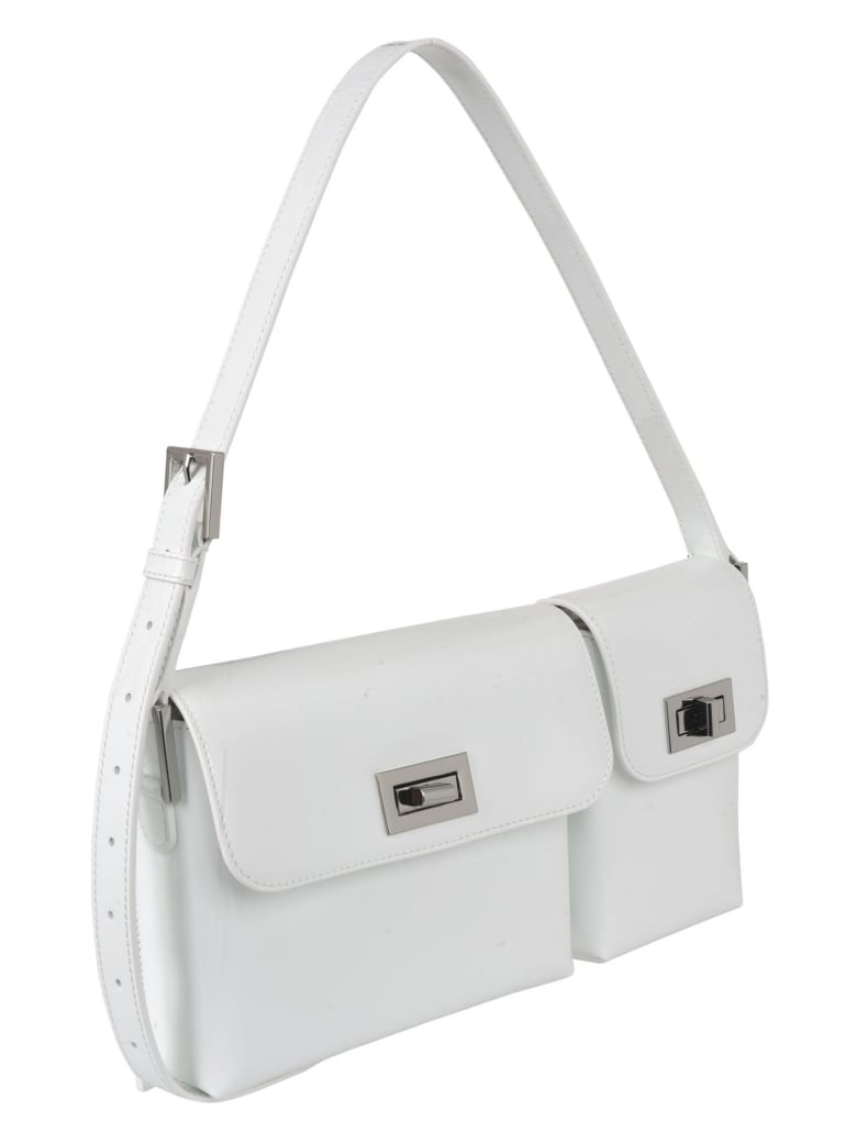 BY FAR Billy Patent Leather Shoulder Bag - White