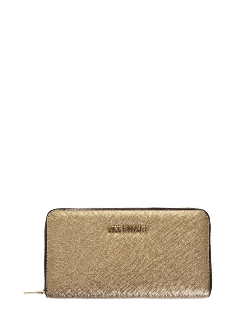 Love Moschino Gold Color Faux Leather Love Moschino Wallet - Gold