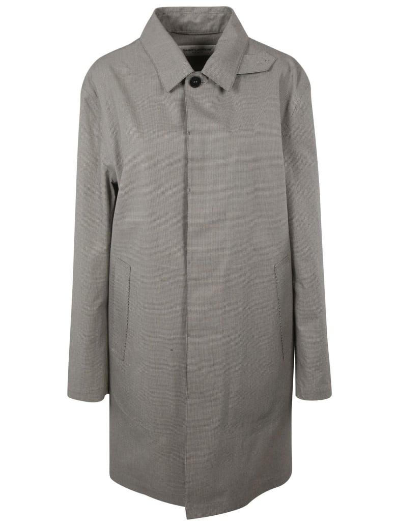 Saint Laurent Houndstooth Raincoat - Chalk/Black