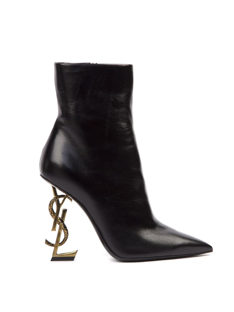 Saint Laurent Opyum Leather Ankle Boots With Bronze Snake Heel - Black