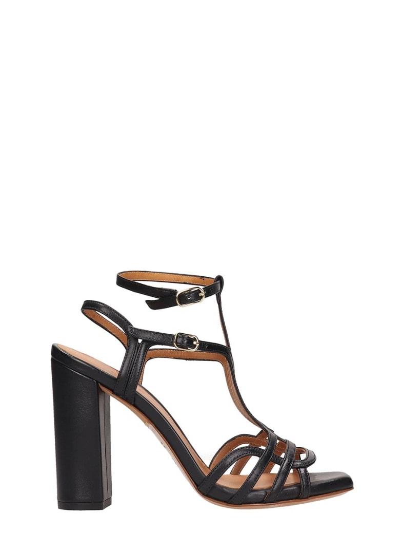 Chie Mihara Black Leather Edel Sandals - black