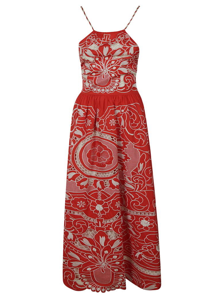 RED Valentino Printed Sleeveless Long Dress - Red