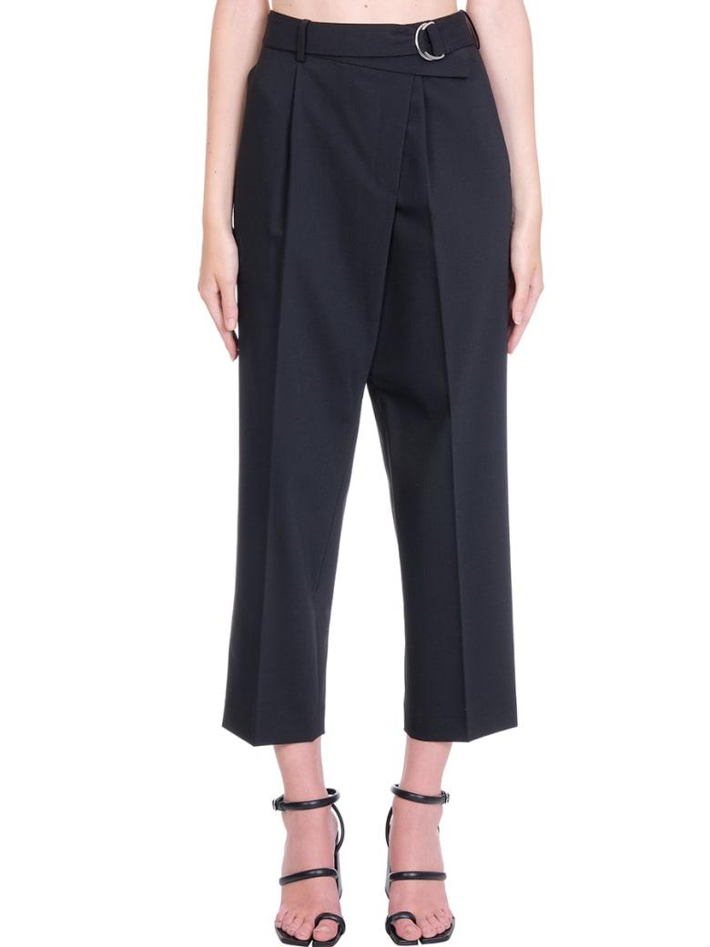Helmut Lang Crop Wrap  Pants In Black Wool - black