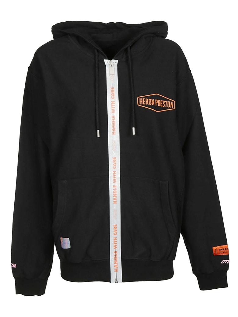 HERON PRESTON Logo Zipped Hoodie - Black Orange