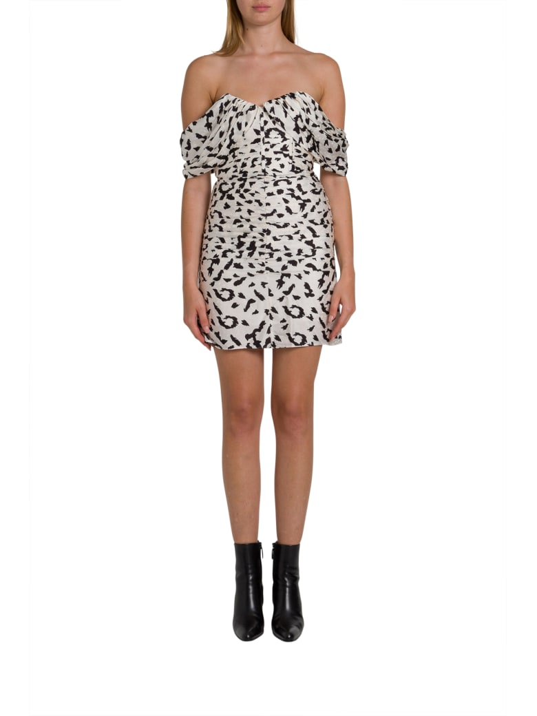 self-portrait Leopard Printed Mini Dress With Dropped Shoulderstraps - Nero