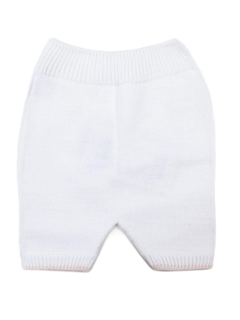 Little Bear White Cotton Pants - Bianco+rosa
