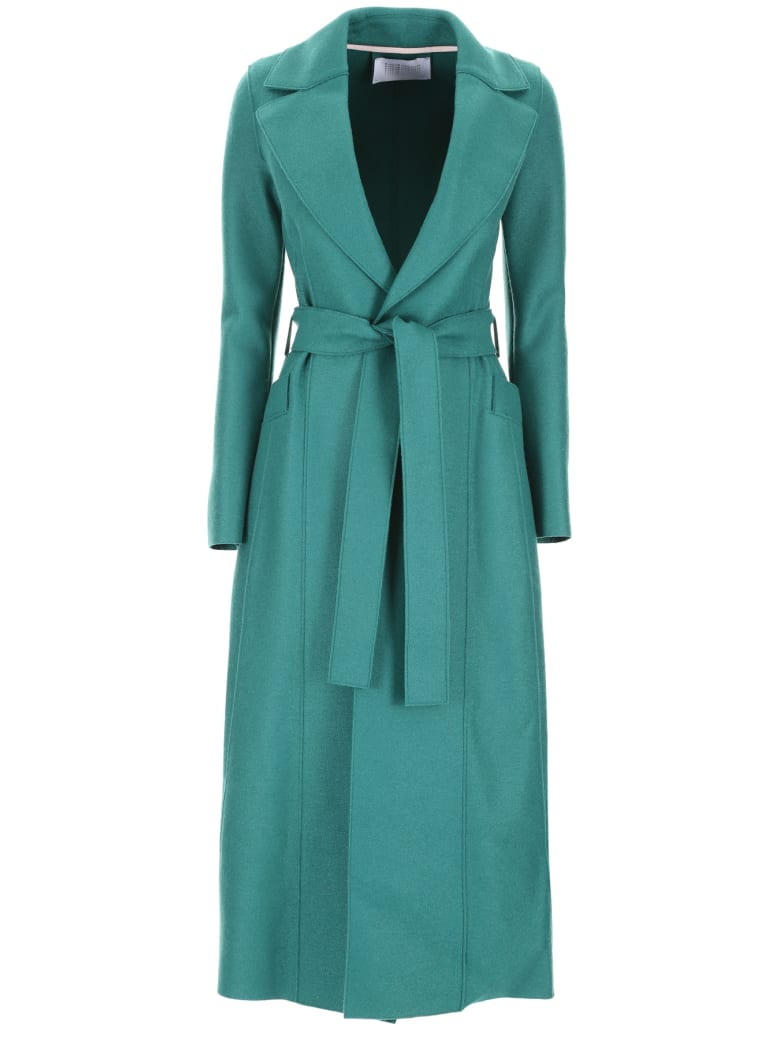 Harris Wharf London Long Coat With Belt - EVERGREEN (Green)