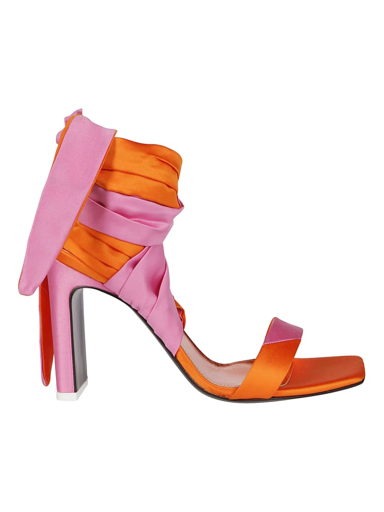The Attico Pink And Orange Leather Sandals - PINK ORANGE