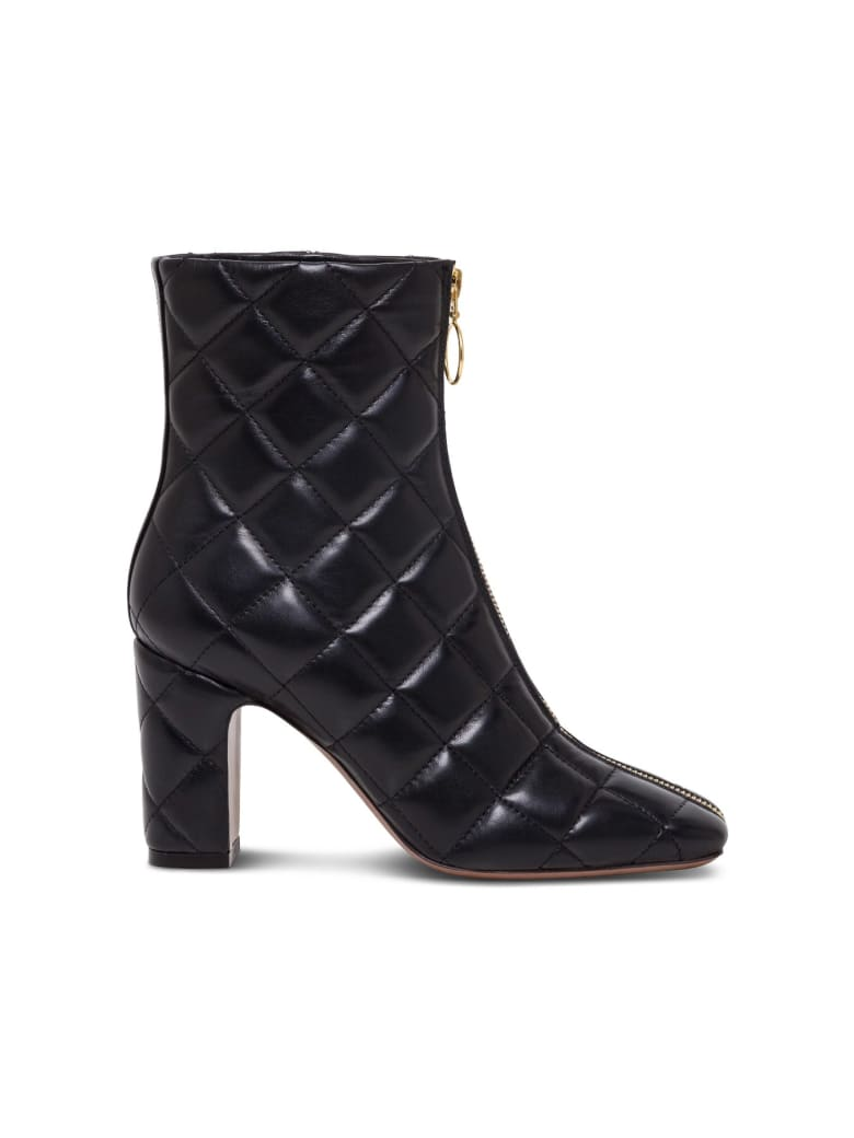 L'Autre Chose Quilted Leather Ankle Boots - Black