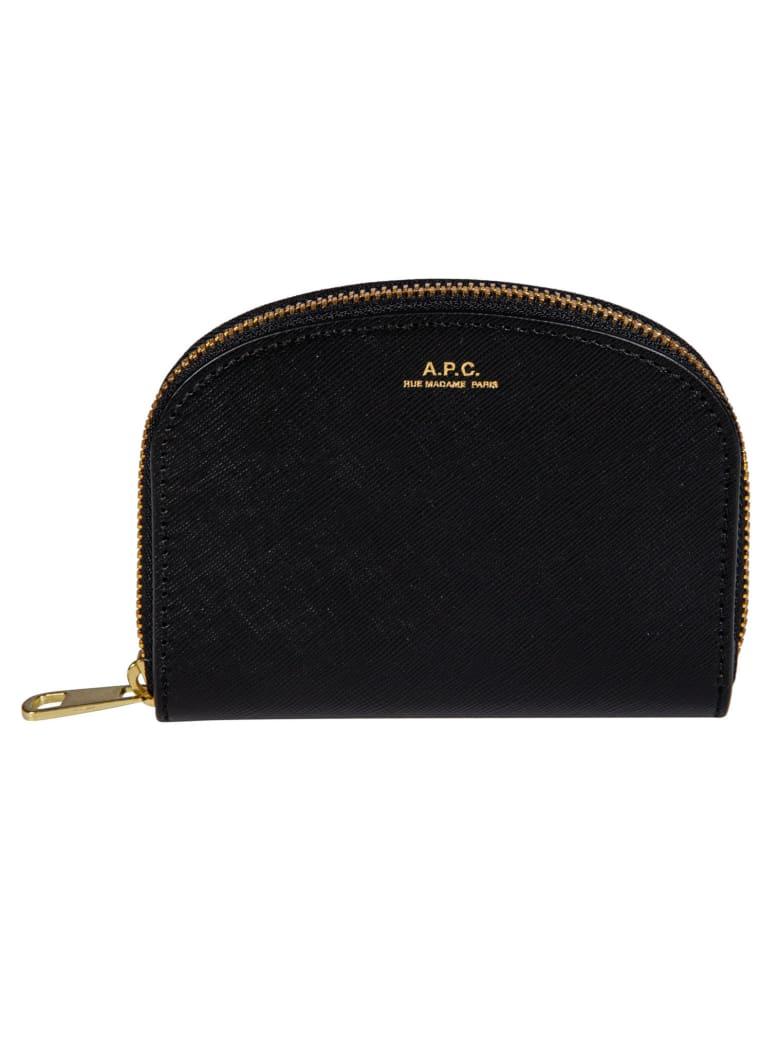 A.P.C. Demi Lune Compact Wallet - Black