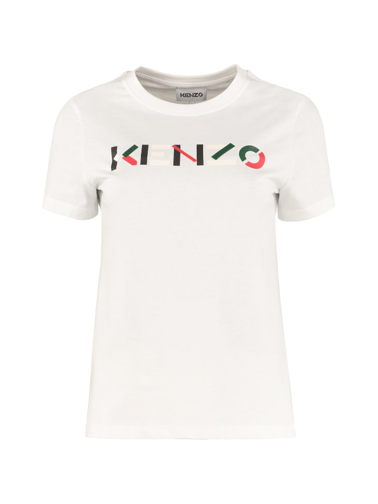 Kenzo Logo Print Cotton T-shirt - Bianco