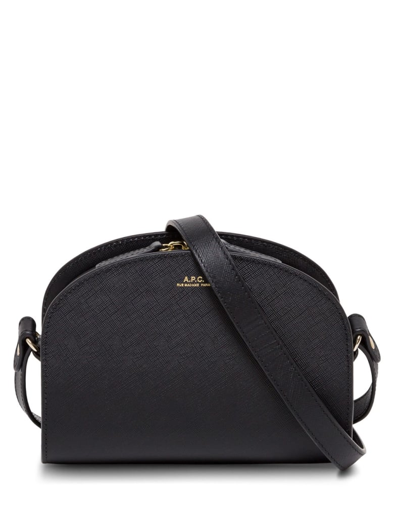 A.P.C. Sac Demi Lune Leather Crossbody Bag - Black