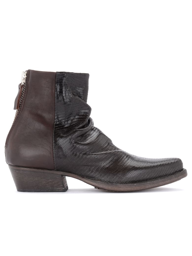 Moma Whiston Texan Ankle Boot Made Of Dark Brown Laser-cut Leather - MARRONE