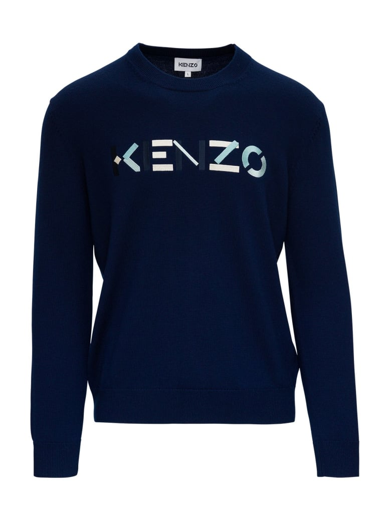 Kenzo Sweater With Multicoloured Logo Embroidery To The Front - Blu
