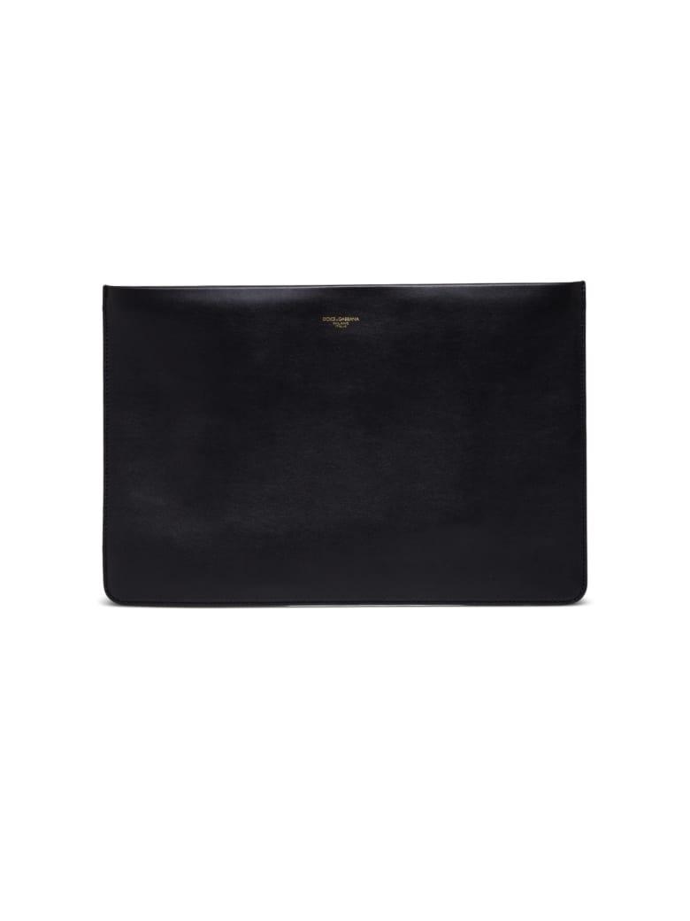 Dolce & Gabbana Black Leather Clutch With Logo - Black