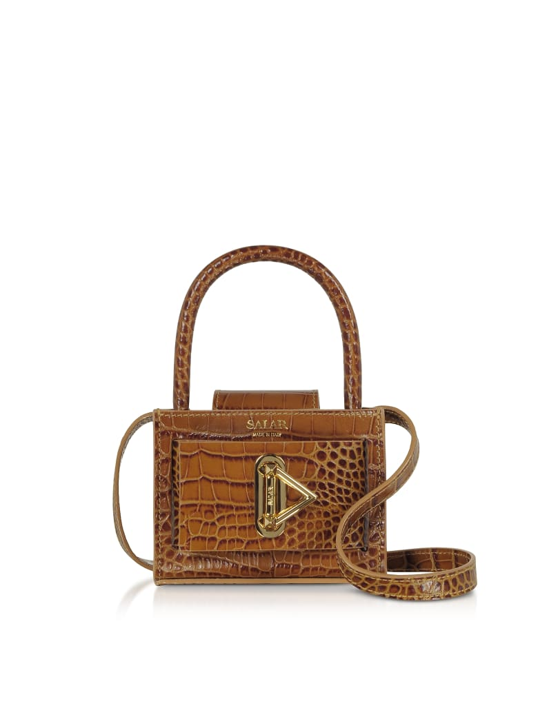 Salar Loulou Croco Embossed Tan Leather Top Handle Bag - Tan